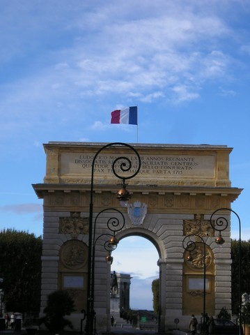 Near from Palavas les Flots the triumphal arch of Montpellier