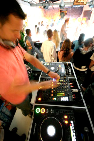 A DJ plays dances camping near Montpellier in southern France