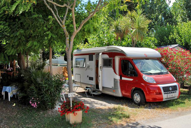 In southern France beachfront camping site RV in the shade