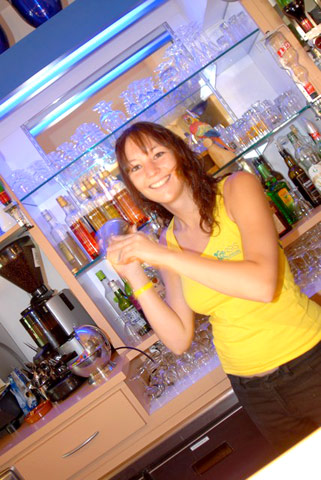 The Barmaid at the campsite bar oasis Palavasienne Lattes in Herault near (...)