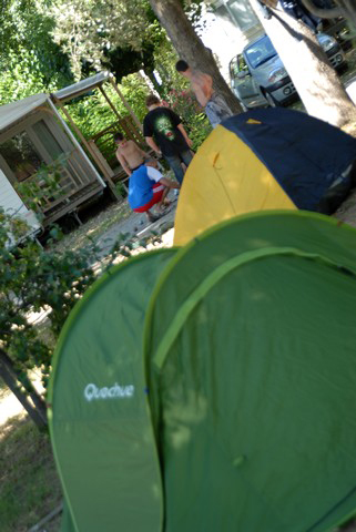 Shady pitches for tents at the campsite Oasis Palavasienne in 34 (...)